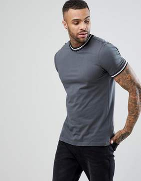 New Look Ringer T-Shirt In Gray