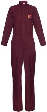 Aries Cat-embroidery cotton-blend jumpsuit