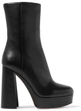 Miu Miu Leather Platform Boots - Black