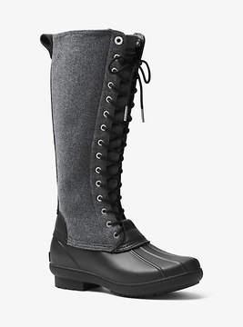 Michael Kors Easton Flannel And Rubber Rain Boot