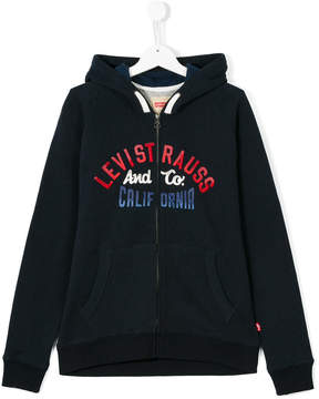 Levi's Kids teen logo print zip jacket