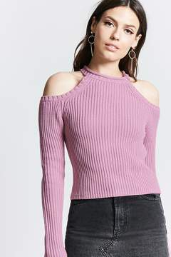 Forever 21 Ribbed Open-Shoulder Sweater
