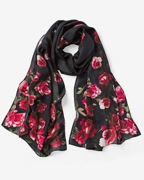 White House Black Market Silk Rose Printed Oblong Scarf