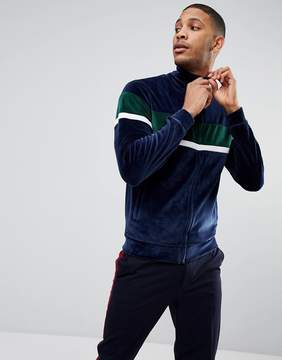 Bellfield Paneled Track Top In Velour