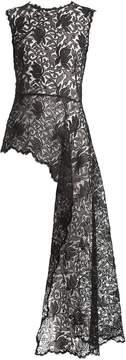 Alexander McQueen Asymmetric Chantilly bird-lace top
