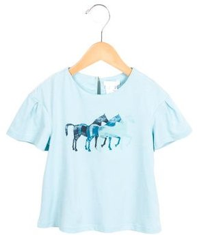 Chloé Girls' Horse Print Short Sleeve Top w/ Tags