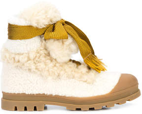 Chloé Shearling bow lace boots