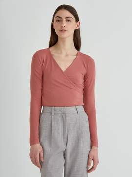 Frank and Oak Wrap Top in Withered Rose