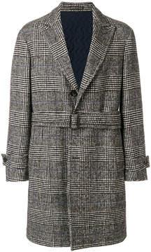 Lardini checked buttoned up coat