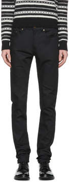 Saint Laurent Black Raw Denim Skinny Jeans