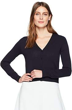 Black Women's Button Down V-Neck Cropped Cardigan Sweater