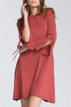 Cherish Rust Lace-Sleeve Dress