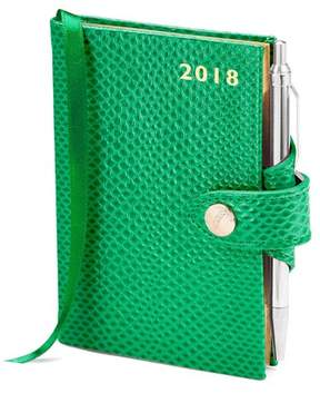 Aspinal of London Mini Pocket Leather Diary With Pen In Grass Green Lizard