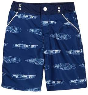 Andy & Evan Boat Blueprint Swim Trunks (Toddler & Little Boys)