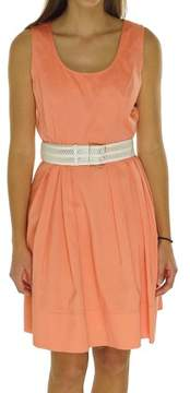Calvin Klein Women's Solid Scoop Neck Cotton Blend Belted Dress
