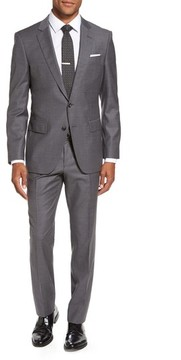 BOSS Men's Huge/genius Trim Fit Stripe Wool Suit