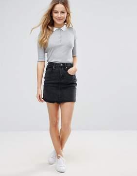 Brave Soul Acid Wash Denim Mini Skirt