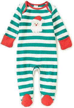 Starting Out Baby Boys Newborn-9 Months Christmas Striped Santa Footed Coverall