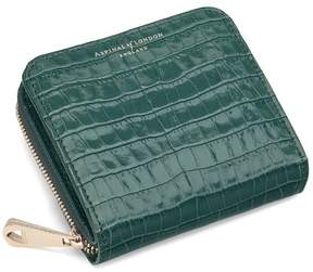 Aspinal of London Mini Continental Zipped Coin Purse In Deep Shine Sage Small Croc