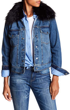 Bagatelle Faux Fur Collar Denim Jacket
