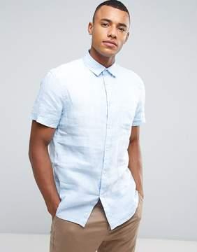 Celio Short Sleeve Shirt In 100% Linen