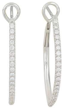 Frederic Sage 18K White Gold Marquise Pavé Diamond Hoop Earrings
