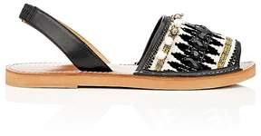 Barneys New York Women's Embellished Leather & Canvas Slingback Sandals