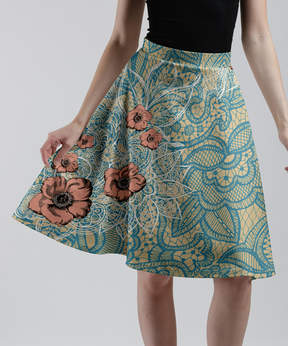 Lily Teal & Cream Floral A-Line Skirt - Women & Plus
