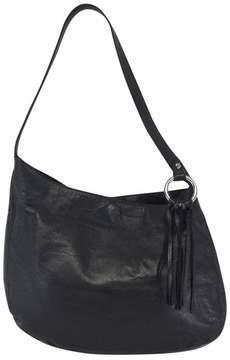 BCBG Black Leather Fringe Shoulder Bag