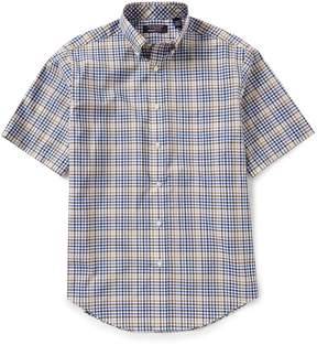 Roundtree & Yorke TravelSmart Big and Tall Short-Sleeve Gingham Sportshirt