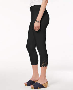 Style&Co. Style & Co Mid-Rise Crochet-Lace Leggings, Created for Macy's