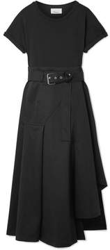 3.1 Phillip Lim Belted Cotton-blend Jersey And Cotton-canvas Midi Dress - Black