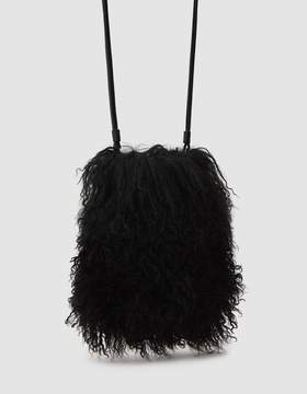Kara Black Shearling Crossbody