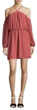 WAYF Crepe Cold-Shoulder Dress