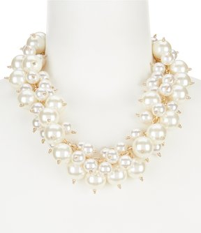 Anna & Ava Sybil Faux-Pearl Cluster Statement Necklace