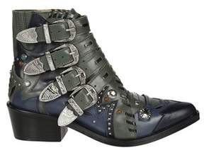 Toga Pulla Women's Green Leather Ankle Boots.