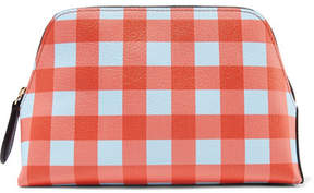Diane von Furstenberg - Gingham Textured-leather Pouch - Papaya