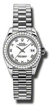 Rolex Lady-Datejust 26 White Dial Platinum President Automatic Ladies Watch