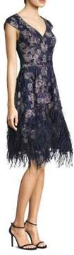 David Meister Floral Feather Dress