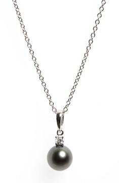 Mikimoto Women's Diamond & Black Cultured Pearl Pendant Necklace