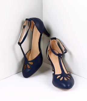 Unique Vintage Navy Blue Pleather Cutout Kimmy T-Strap Heels Shoes