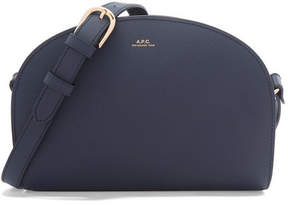 A.P.C. Demi Lune Textured-leather Shoulder Bag - Navy