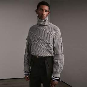 Burberry Cable and Rib Knit Collage Cotton Blend Sweater