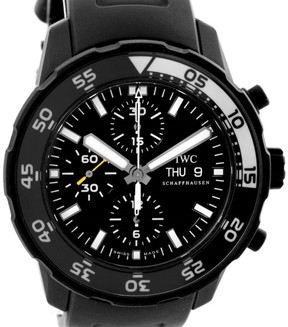IWC Aquatimer IWC3767 Chronograph Black Ion-plated Stainless Steel Black Rubber Strap 44mm Mens Watch