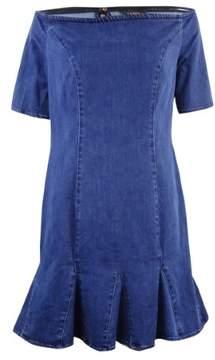 GUESS Women's Off the Shoulder Denim Dress (12, Benton Wash)