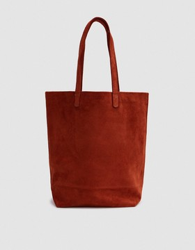 Basic Tote in Rust Suede