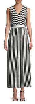 Isaac Mizrahi IMNYC Surplice V-Neck Striped Side Slit Maxi Dress