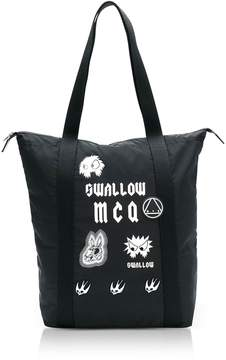 McQ Sponsorship Black Nylon Shopper Bag W/ Badges