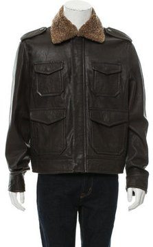 Love Moschino Leather Shearling Collar Jacket