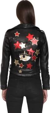 Chiara Ferragni Star Patches Leather Biker Jacket
